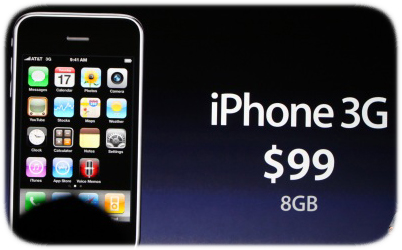 iPhone 3G de 8Gb a u$s99, junto con el iPhone 3GS