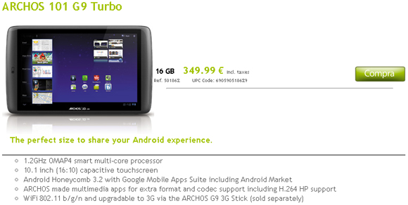 Archos 101 G9 Turbo ya disponible en la web del fabricante